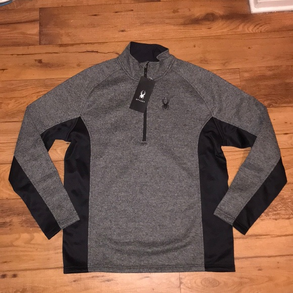 Spyder Mens Outbound Half Zip Sweater Sz Medium Large XL NWT Gray Black